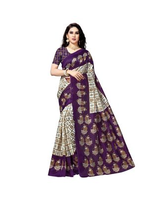 Purple printed bhagalpuri silk saree with blouse