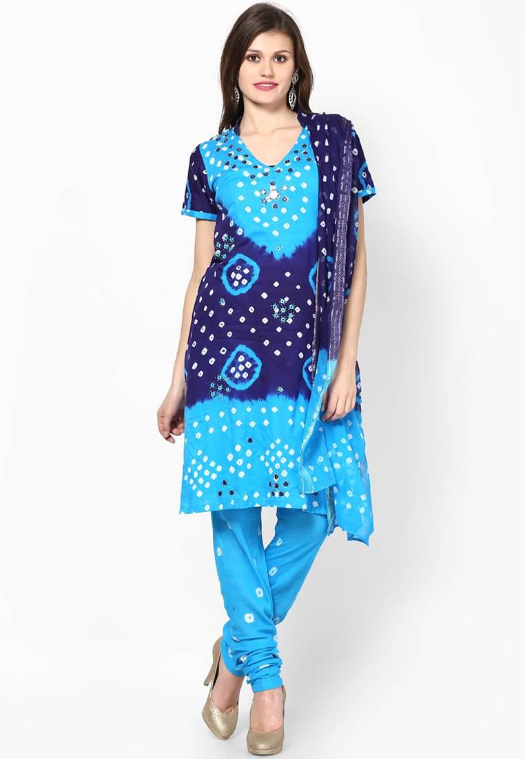 Beautiful Blue Cotton Bandhej Dress Material Rajasthani
