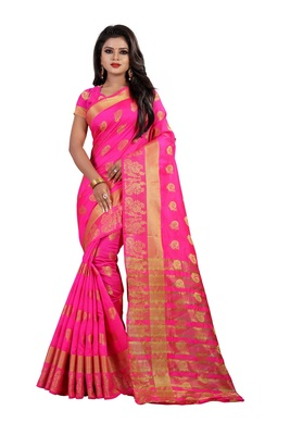 Pink Cotton silk Gold woven peacock design saree with blouse