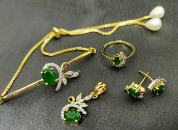 M Creation Green Color Combo Set For Women