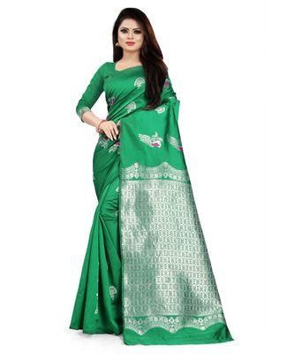 Green Color Banarasi Silk Jacquard Work Silver peacock banarasi saree with blouse