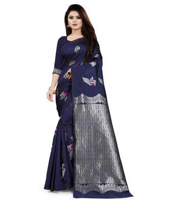 Navy Color Banarasi Silk Jacquard Work Silver peacock banarasi saree with blouse