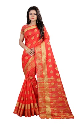 Red Cotton silk Gold woven peacock design saree with blouse