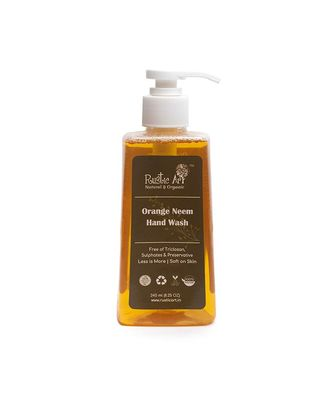 Rustic Art Orange Neem Organic Hand Wash | Natural, Vegan, All Purpose | Sulphate, Paraben Free | 245ml