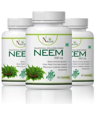NATURAL Neem Boost Immune System Capsules Pack of 3  (180 No)