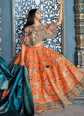 Orange plain silk unstitched lehenga