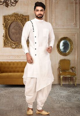 White art silk designer kurta