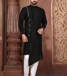 Black Plain Art Silk Designer Dhoti Kurta
