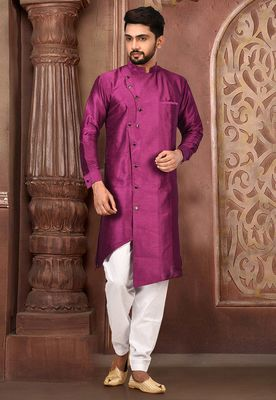 Purple Plain Art Silk Dhoti Kurta