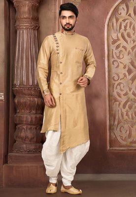 Beige cotton silk designer dhoti kurta