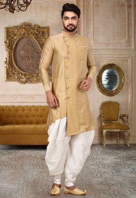 Beige cotton silk dhoti kurta