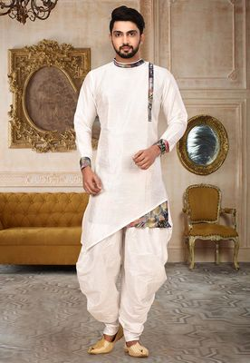 White art silk dhoti kuta with patch digital printed border work