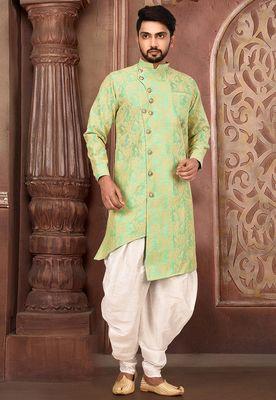 light green  matka silk kurta