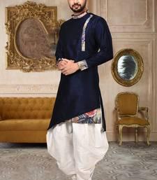 navy blue art silk designer dhoti kurta