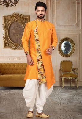Orange dupion silk dhoti kurta with digital print