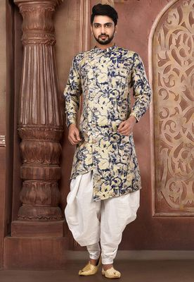 Multicolor plain art silk jaquard dhoti and kurta
