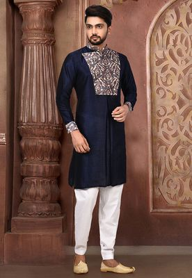 navy blue printed art silk dhoti kurta