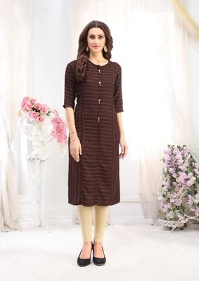 Brown Rayon Designer straight cut kurti