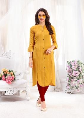 Yellow Rayon Designer straight cut kurti