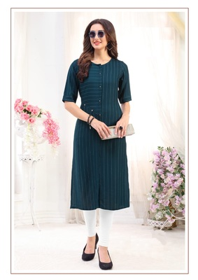 Blue Rayon Designer straight cut kurti