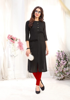 Black Rayon Designer straight cut kurti