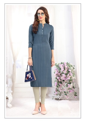 Grey  Rayon Designer straight cut kurti