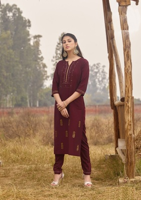 Purple Rich Look Rayon with handwork Festive Wear Kurti With Pant