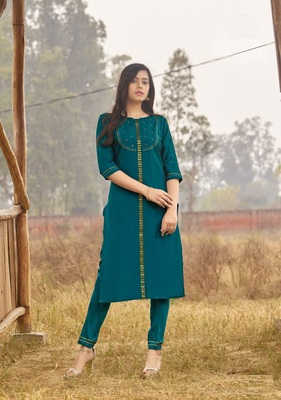 Acqua Green Rich Look Rayon with handwork Festive Wear Kurti With Pant