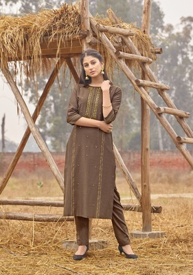 Light Brown Rich Look Rayon with handwork Festive Wear Kurti With Pant