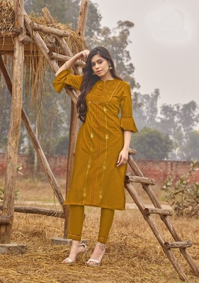 Yellow Rich Look Rayon with handwork Festive Wear Kurti With Pant