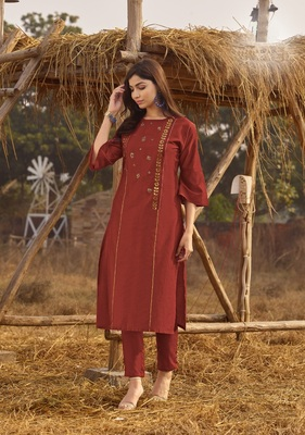 Rust Rich Look Rayon with handwork Festive Wear Kurti With Pant