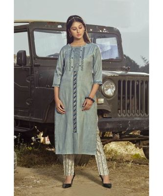 Light blue Printed Heavy slub  straight cut Kurti set