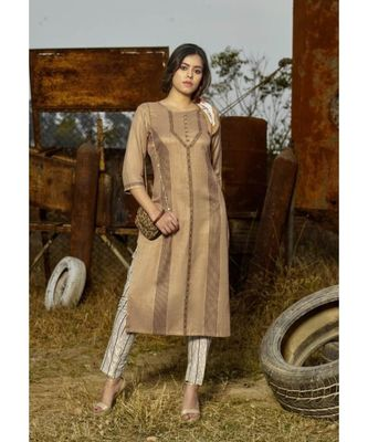 Beige Printed Heavy slub  straight cut Kurti set
