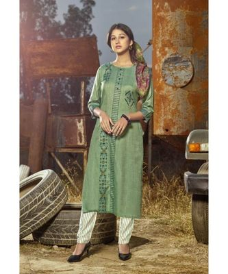 Light Green Printed Heavy slub  straight cut Kurti set