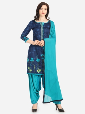 Navy Blue & Sea Green Color Embroidered Unstitched Dress Material