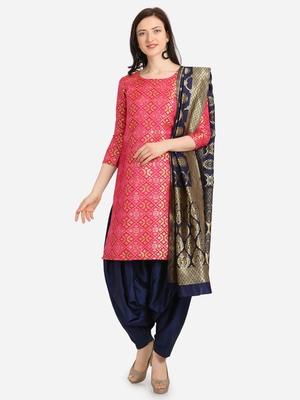 Pink & Blue Color Unstitched Dress Material