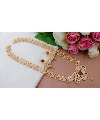 Royal Designer CZ / Ruby Stone Long Leaf Design Necklace with a pair of Matching Ear Rings