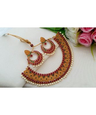 Beautiful Matt Gold Finish Neckset with Ruby Emerald Stones and pair of Matching Ear Rings