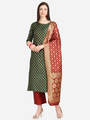 Green & Red Color Unstitched Dress Material