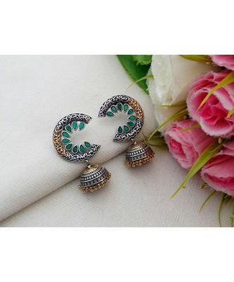 Cute Two Tone Pure German Silver Jhumkas with AD Stones