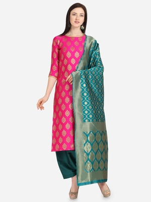 Pink & Sea Green Color Unstitched Dress Material