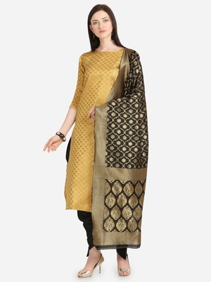 Yellow & Black Color Unstitched Dress Material