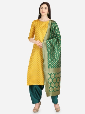 Yellow & Green Color Unstitched Dress Material