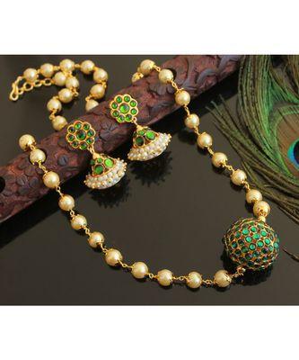 Beautiful Gold Tone Green Rudhra Ball Designer Necklace Set