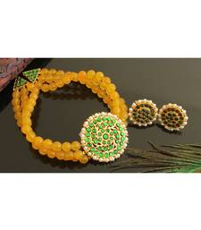 Beautiful Gold Tone Yellow Agate Green Designer Choker Set