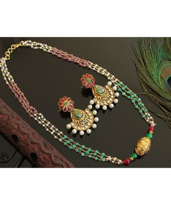 BEAUTIFUL ANTIQUE PINK-GREEN TRIPLE LAYER PEACOCK DESIGNER NECKLACE SET