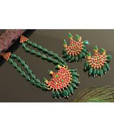 Beautiful Gold Tone Kemp Green Moon Choker Necklace Set