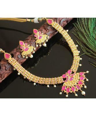 Splendid Goldplated Semi Precious Cz Ruby Necklace Set
