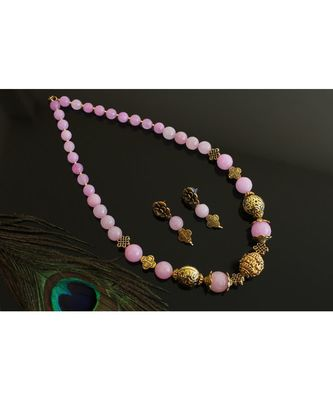 BEAUTIFUL GOLD TONE BABY PINK AGATE DESIGNER NECKLACE SET