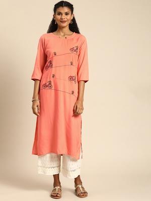 Blissta Women's Rayon Embroidered Straight Kurti (Peach)